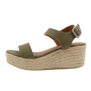 Pale Khaki Open Toe Ankle Strap Espadrille Wedge